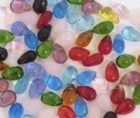 100 Crystal Glass Beads 9X6mm Teardrop Mixed